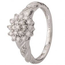Second Hand 9ct White Gold Diamond Cluster Ring 4136411
