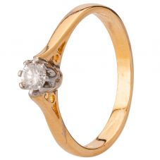 Second Hand 18ct Yellow Gold Diamond Solitaire Ring 4136426