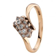 Second Hand 9ct Yellow Gold Diamond Cluster Twist Ring