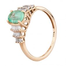 Second Hand 9ct Yellow Gold Oval Emerald and Baguette Cut Diamond Ring