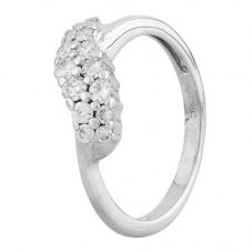 Second Hand 9ct White Gold Diamond Cluster Twist Ring