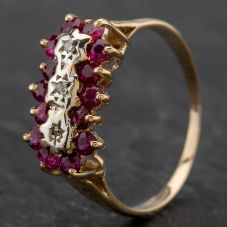 Second Hand Diamond & Ruby Triple Cluster Ring