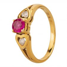 Second Hand 9ct Yellow Gold Synthetic Ruby and Diamond Heart Ring L.256323(397)