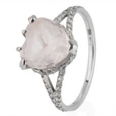 Second Hand 14ct White Gold White Kunzite and Diamond Heart Ring