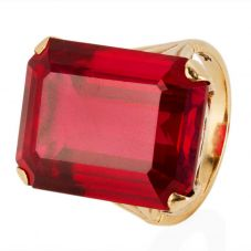 Second Hand Red Oblong Stone Set Ring 4146977