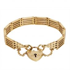 Second Hand 9ct Yellow Gold Five Bar Gate Bracelet 4153157