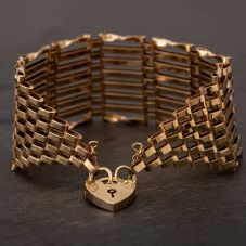 "Second Hand 9ct Yellow Gold 7"" Eight Bar Gate Bracelet F502244(460)"