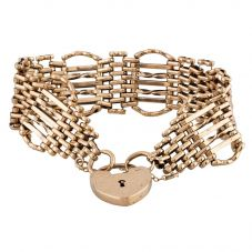 Second Hand 9ct Yellow Gold 7 Bar Gate Padlock Bracelet