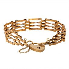 Second Hand 9ct Yellow Gold Four Bar Gate Padlock Bracelet