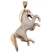 Second Hand 9ct Yellow Gold Cubic Zirconia Horse Pendant