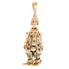 Second Hand 9ct Yellow Gold Gem Set Clown Pendant