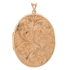 Second Hand 9ct Yellow Gold Large Engraved Oval Locket Pendant
