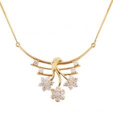 Second Hand 18ct Yellow Gold 1.35ct Diamond Floral Spray Necklace 4156967