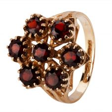 Second Hand 9ct Yellow Gold Garnet Cluster Ring 4157162