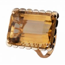 Second Hand 9ct Yellow Gold Oblong Citrine Ring 4157385