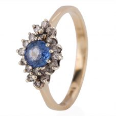Second Hand 9ct Yellow Gold Sapphire and Diamond Ring 4158016