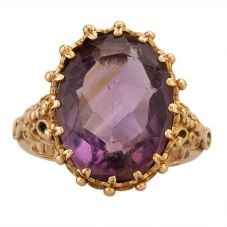 Second Hand 9ct Yellow Gold Large Oval Amethyst Ring