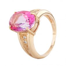 Second Hand 9ct Yellow Gold Oval Treated Pink Topaz Ring