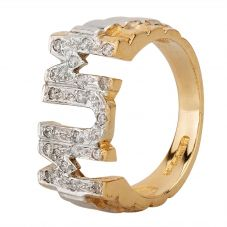 Second Hand 9ct Two Colour Gold Cubic Zirconia Set Mum Ring