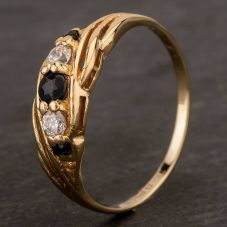 Second Hand 9ct Yellow Gold Sapphire and Cubic Zirconia Five Stone Ring