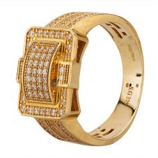 Second Hand 9ct Yellow Gold Cubic Zirconia Pave Buckle Ring