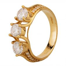 Second Hand 9ct Yellow Gold Cubic Zirconia Trilogy Ring
