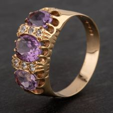 Second Hand 9ct Yellow Gold Amethyst and Cubic Zirconia Nine Stone Dress Ring