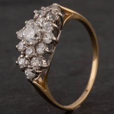 Second Hand 9ct Yellow Gold Cubic Zirconia Cluster Ring