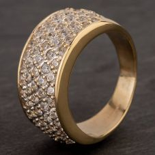 Second Hand 9ct Yellow Gold Cubic Zirconia Pavé Band Ring