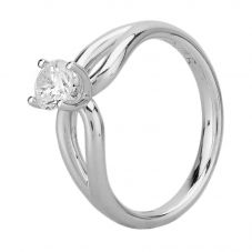 Second Hand 9ct White Gold Cubic Zirconia Open Shoulder Solitaire Ring