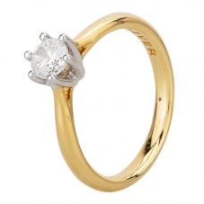 Second Hand 18ct Yellow Gold Cubic Zirconia Six Claw Solitaire Ring