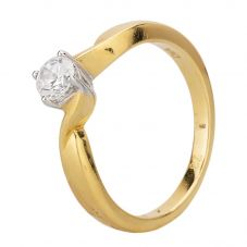 Second Hand 18ct Yellow Gold Cubic Zirconia Four Claw Twist Solitaire Ring