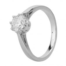 Second Hand 18ct White Gold Cubic Zirconia Eight Claw Solitaire Ring