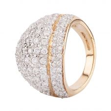 Second Hand 9ct Yellow Gold Cubic Zirconia Pave Ring