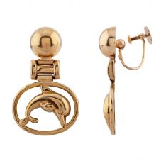 Second Hand Yellow Gold Dolphin Dropper Earrings