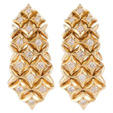 Second Hand 18ct Yellow Gold Diamond Clip On Earrings