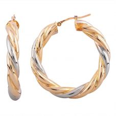 Second Hand 18ct Two Colour Gold Twist Hoop Earrings