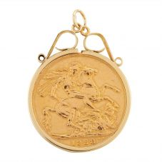 Second Hand 22ct Yellow Gold 1928 Full Sovereign Coin Loose Pendant