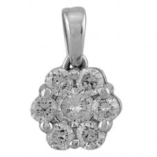 Second Hand 14ct White Gold 0.80ct Diamond Flower Pendant
