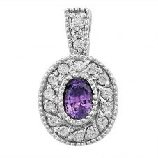 Second Hand 14ct White Gold Amethyst and Diamond Loose Pendant OLDSTOCK(454)