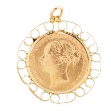 Second Hand 1880 Full Soverign Coin Pendant 4166292
