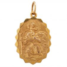 Second Hand 9ct Yellow Gold Large Oval St Christopher Loose Pendant