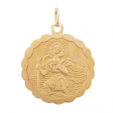Second Hand 9ct Yellow Gold Round St Christopher Loose Pendant