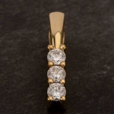 Second Hand 9ct Yellow Gold Triple Cubic Zirconia Bar Loose Pendant