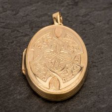 Second Hand 9ct Yellow Gold Celtic Engraved Loose Locket