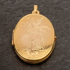 Second Hand 9ct Yellow Gold Bird and Flowers Embossed Loose Locket