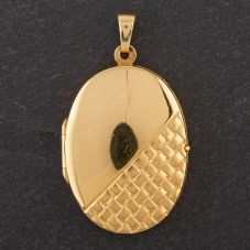 Second Hand Oval Half Engraved Locket 4166480