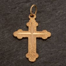 Second Hand 9ct Yellow Gold Diamond Cut Cross Loose Pendant