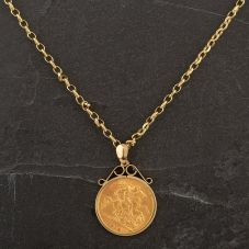 Second Hand 1914 Half Soverign Coin Pendant 4166570