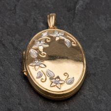 Second Hand 9ct 2 Colour Gold Oval Flower Patterned Embossed Locket
